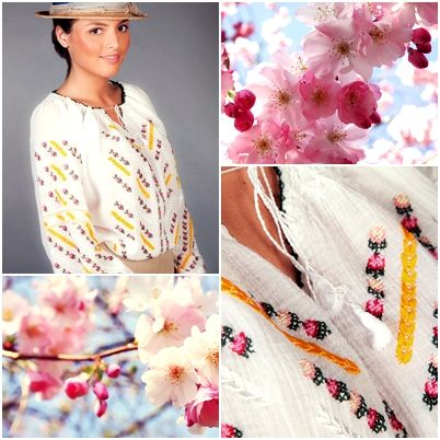 This unique traditional Romanian blouse gives you a romantic look! Its delicate and colorful embroidery will make you feel special! #florideie #fashion #style #romaniandesign #embroidery #summer #colorful #romantic