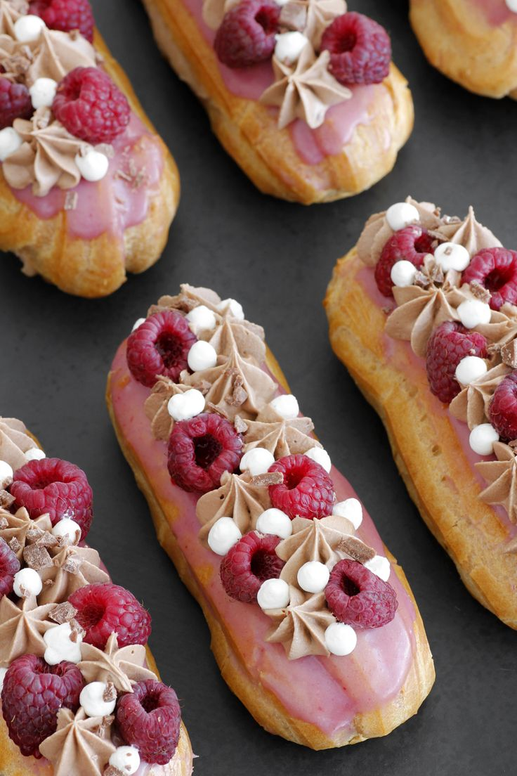 Raspberry + milk chocolate eclair.