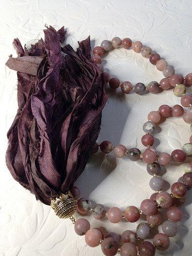 Aventurine long necklace with sari silk ribbon tassel   by Donetta's Beaded Treasures