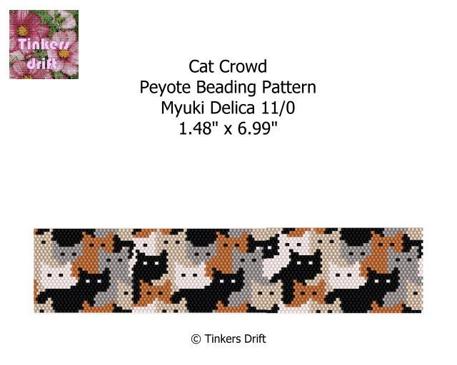 Cat Crowd Peyote Beaded Bracelet Pattern by TinkersDrift on Etsy https://www.etsy.com/listing/269360240/cat-crowd-peyote-beaded-bracelet-pattern