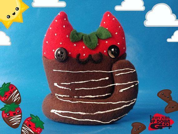 Kawaii Chocolate Strawberry Cat Food Plushie, Cute Stuffed Strawberry Cat, Kawaii Gifts #chocolate #chocolatestrawberries #strawberry #strawberries #chocoholic #valentinesdaygift #cats #CuteCats #catlovergift #catlover #cutekawaii #kawaii #kawaiifood #sweettooth #desserts #desserttime #kawaiiplushie #kawaiicat #plushies #plushiemaker #stuffedanimals #catplushie #handmade #handmadeplushie