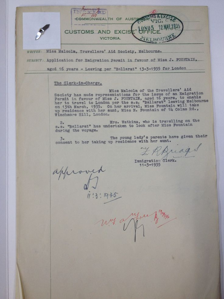 Nest Malcolm's application for an emigration permit for a
