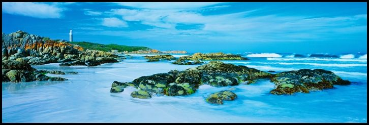 """Larapuna - Eddystone Point, Tasmania, Australia. """"Larapuna""""is the Aboriginal name for the area that is more commonly known as Eddystone Point, in Tasmania's Mount William National Park. It is the northern-most point of the Bay of Fires conservation area. In response to many ships being wrecked off the north-east coast, the Eddystone Point Lighthouse was erected in 1889 using granite quarried from the shores below."""