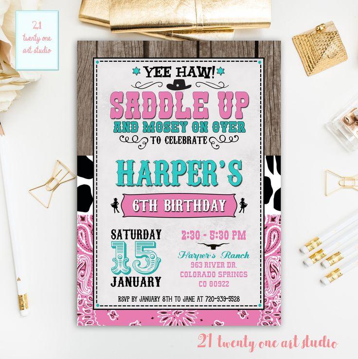 The 25+ best Cowgirl birthday invitations ideas on Pinterest ...