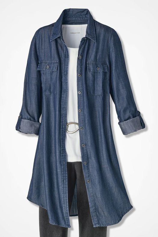 f6adf95cdd4 Long Tencel® Twill Tunic, Medium Blue Wash | Shopping interests ...