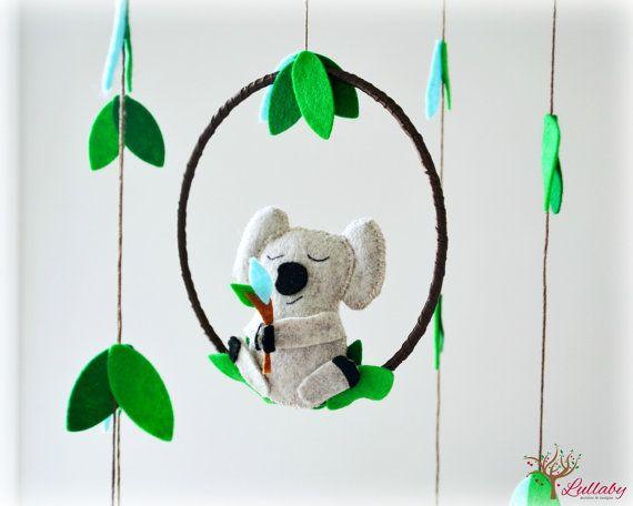 Koala mobile - australian - Nursery baby mobile - Felt green, blue, heather beige - Nursery decor - MADE TO ORDER