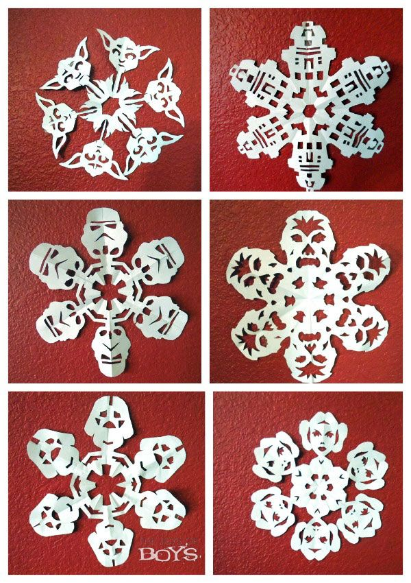 Star Wars Snowflakes from thejoysofboys.com - Links to templates and tutorials for creating Star Wars snowflakes. #starwars #snowflakes