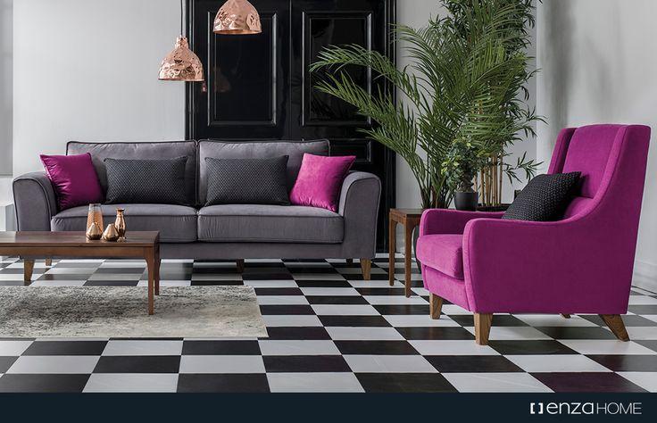 Farklı desenlere sahip dekoratif yastıkları ile Merlin Koltuk Takımı, mekanı geniş gösteren formuyla ferah ve stilize mekanlar yaratıyor.