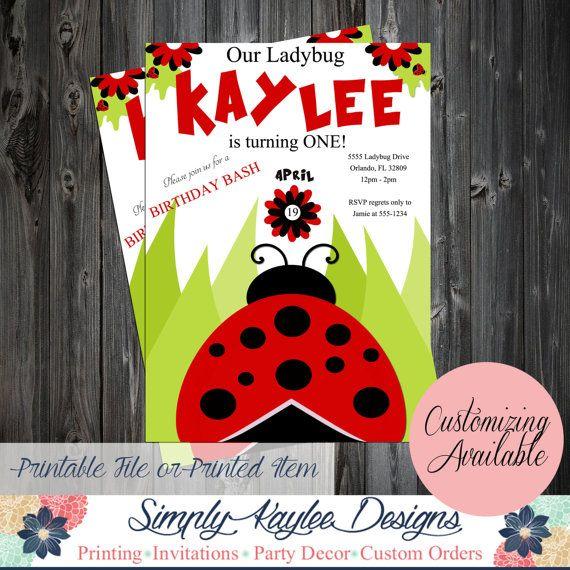 Ladybug Birthday Invitation  Spring by SimplyKayleeDesigns on Etsy