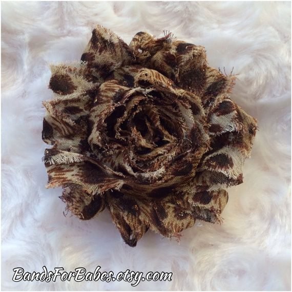 Shabby Chic Cheetah Hair Clip, Cheetah Print Hair Accessory, Alligator Clip, Girls Flower Hair Bow, Accessory by BandsForBabes, $2.50
