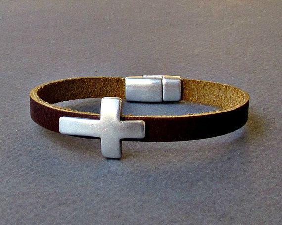 Cross  Mens Leather Bracelet Cuff Dainty Silver Unisex by GUSFREE