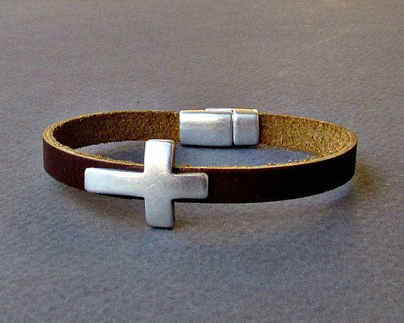 Cross  Mens Leather Bracelet Cuff Dainty Silver Unisex by GUSFREE