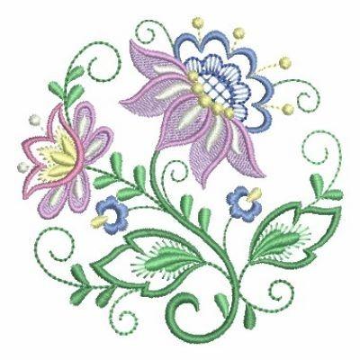Jacobean Floral Circle 7 - 4x4