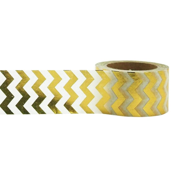 White and Gold Foil Chevron Washi Tape, 25mm with Cutter, by Little B