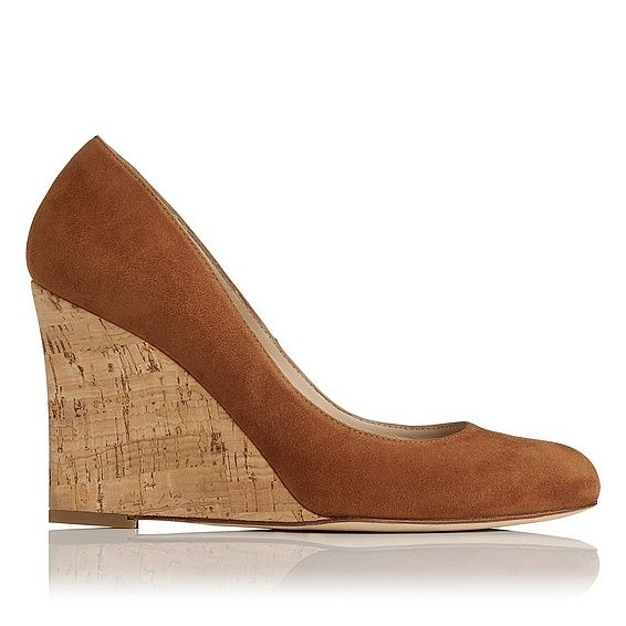 A wedge-heeled, close-toe court is always an elegant addition to a capsule wardrobe. Eirene has a timeless silhouette, comprising almond toe and tapered, 90mm cork wedge, cloaked in tan suede for the new season.