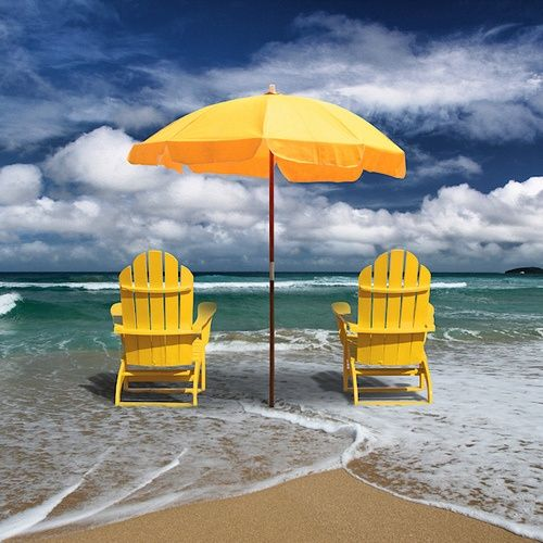 .....love this color combination; contrast of the yellow chairs and umbrella against the aqua of the sea and the blue in the sky....