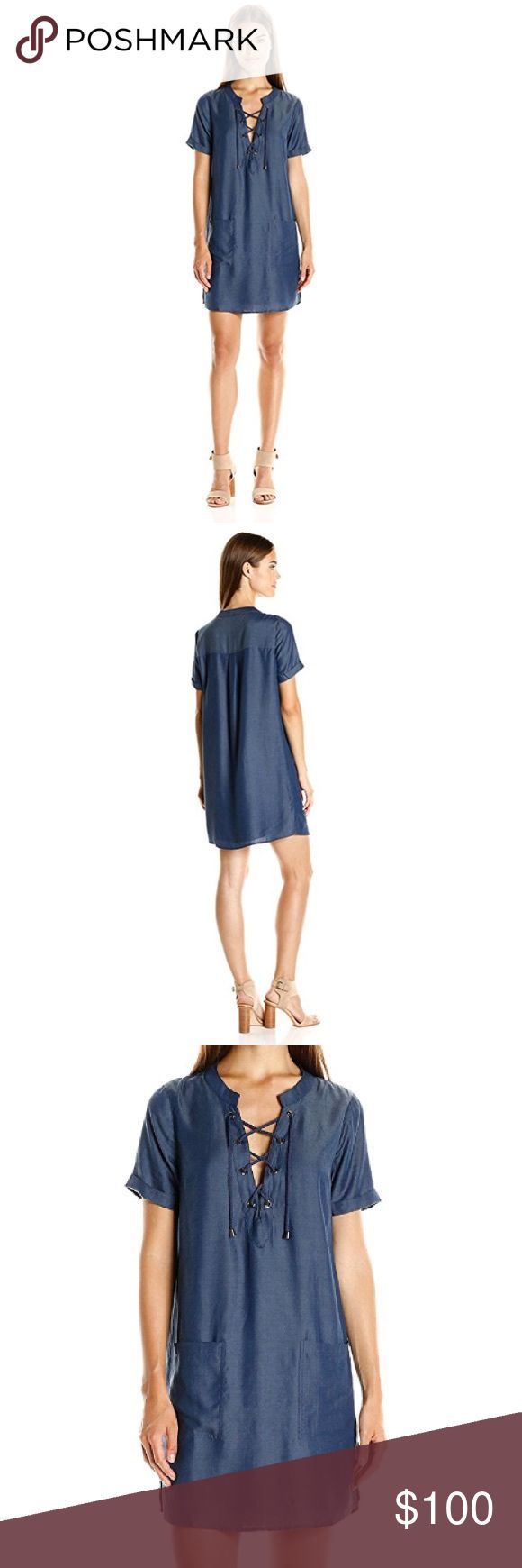 🎉SALE🎉 lovers and friends // shirtdress NWT Lovers and Friends shirt dress with front pockets and lace up neck. Imitates the denim shirtdress look with sexier material- gorgeous and flattering! Lovers + Friends Dresses