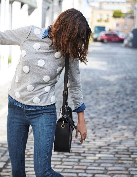Besticktes Sweatshirt mit Tupfen