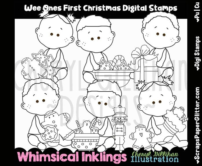 Wee Ones First Christmas Digital Stamps, Black and White Image, Graphic, Commercial Use, Instant Download, Line Art, Toddler, Baby, Tot by ResellerClipArt on Etsy
