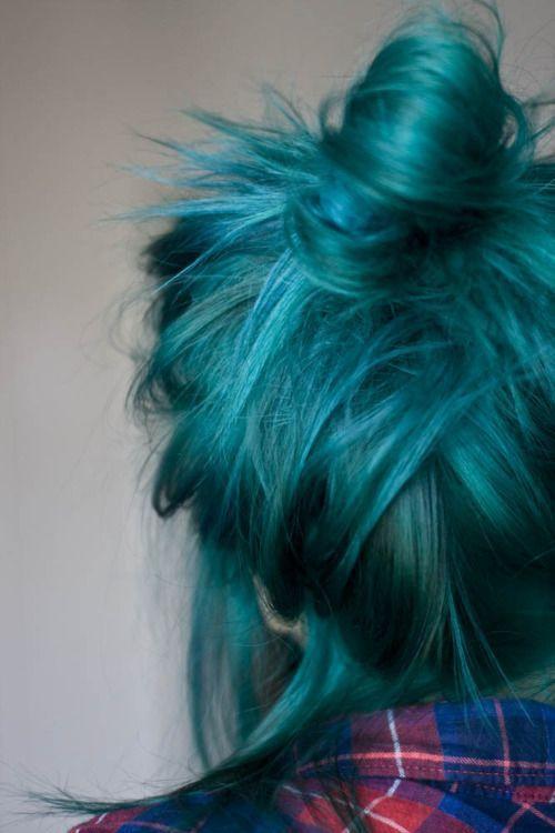 Hair color, colored hair, green hair, hair bun...probably never do it but ooh pretty!