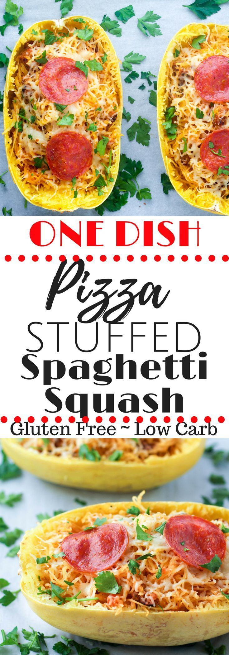 Craving pizza?  This pizza stuffed spaghetti squash is full of all the pizza flavor & made in ONE PAN!  Gluten Free, Low Carb, & High Pro via @hungryhobby