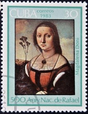 CUBA - CIRCA 1983: A stamp printed in Cuba shows draw by artist Rafael, circa 1983