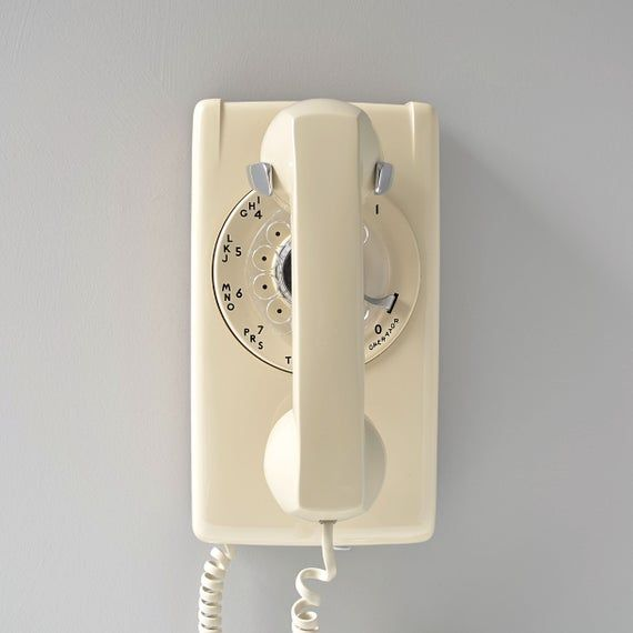 Mint One Line Vintage Rotary Dial Wall Telephone New In Box Ash