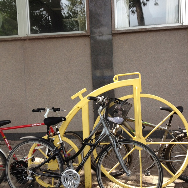 08/11 downtown Regina - bicycle rack at the library ...