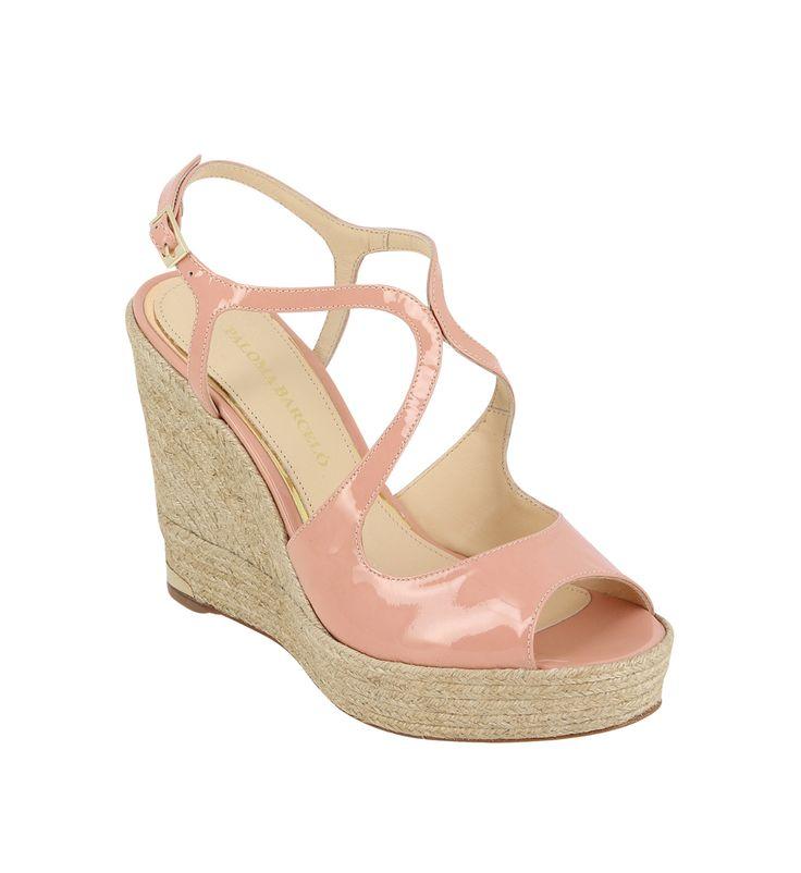 Sandales compensées en cuir verni Palomitas By Paloma Barcelo en rose clair pour femme - Galeries Lafayette