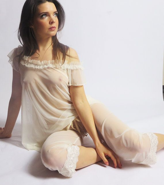 Sheer Sleepwear Nightgown In Mesh With Ruffled Neckline Made To Order Im Only Human Pinterest Lingerie Night Gown And Sheer Lingerie