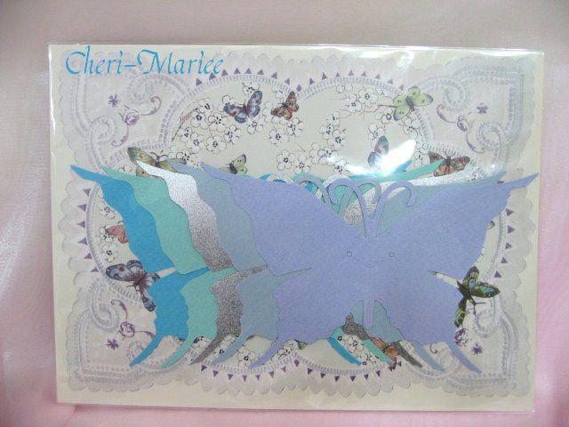 蝶の形をしたグラスカード(ブルー系5枚セット)<シェリーマリエ・ウェディング演出アイテムコーナー>
