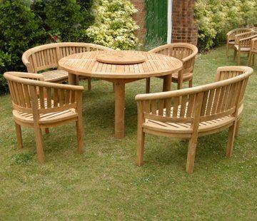 Large Teak Garden Furniture Set Outdoor Wooden Table, Banana Chairs U0026 Banch  Hardwood Patio Dining