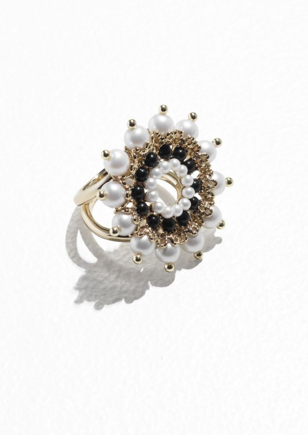 & Other Stories Round Jewelled Ring in Pearl