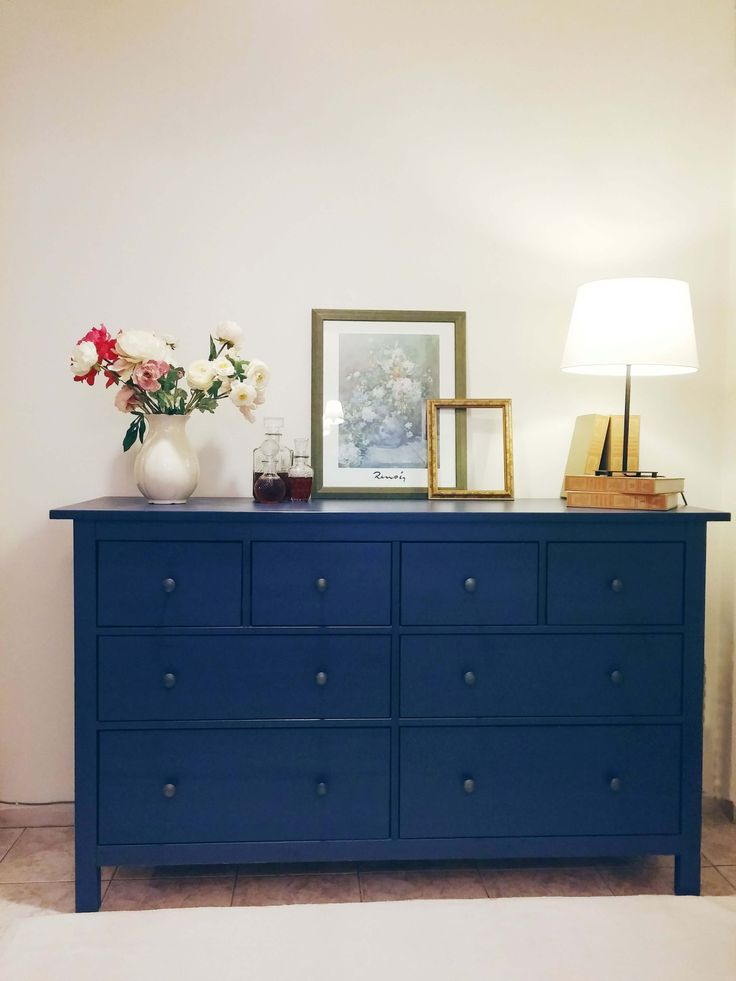My Moms Hallway Before and After - Blue Dresser-  Violetmimosa