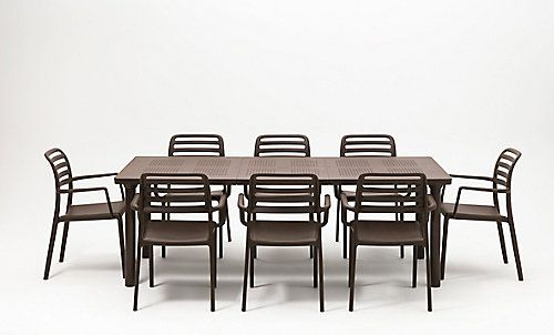 The Nardi Extendable Libeccio table with umbrella hole and 8 Costa armchairs are made for outdoor or indoor use. Made in Italy, this commercial-grade dining set is made from 100% composite based resins (will not chip, peel or rust) and anodized aluminum for years of durability. The table's four non-slip adjustable foot levellers and the chairs' non-slip feet will ensure stability. With its elegant look, this dining collection will be a beautiful addition to any deck or patio.