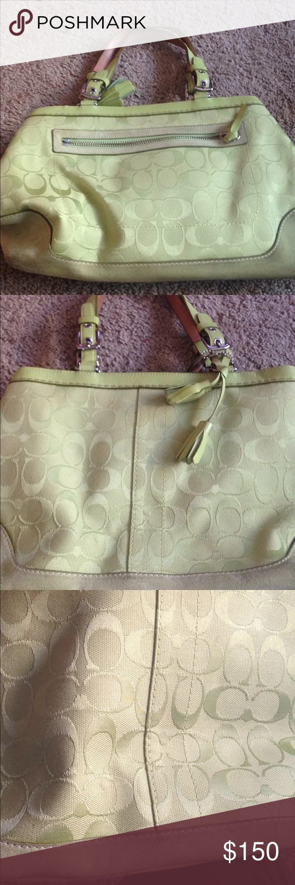 Pale green medium size coach purse Pale green coach purse. Large c design. Zip closure. Outside zip pocket. 3 inside pockets. Overall great condition. Slight wear on suede bottom as pictured.  Duster bag included. Coach Bags Hobos