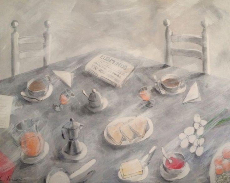 Desayuno mediterráneo   Pintura de Lola Barcia Albacar   Flecha