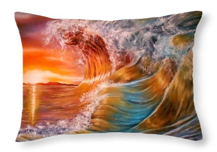 Throw Pillow,  home,accessories,sofa,couch,bedroom decor,cool,beautiful,fancy,unique,trendy,artistic,awesome,fahionable,unusual,gifts,presents,for,sale,design,ideas,orange,colorful,waves,ocean,sunset
