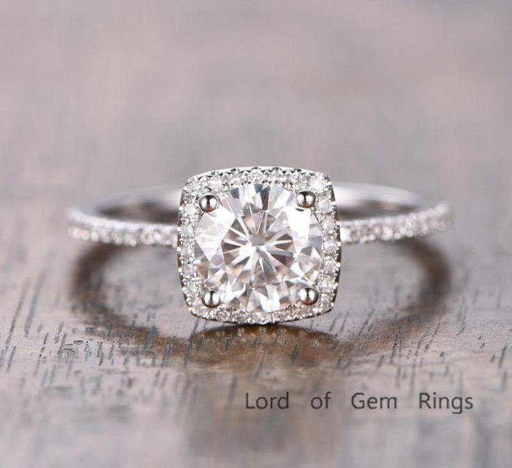 $589 Round Moissanite Engagement Ring Pave Diamond Wedding 14K White Gold 6.5mm Cushion Halo