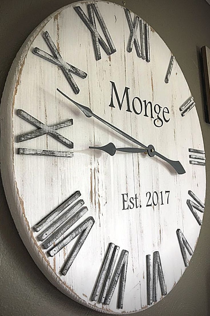 20 White Farmhouse Rustic Distressed Wall Clock Can Be Etsy In 2020 Diy Clock Wall White Wall Clocks Rustic Wall Clocks