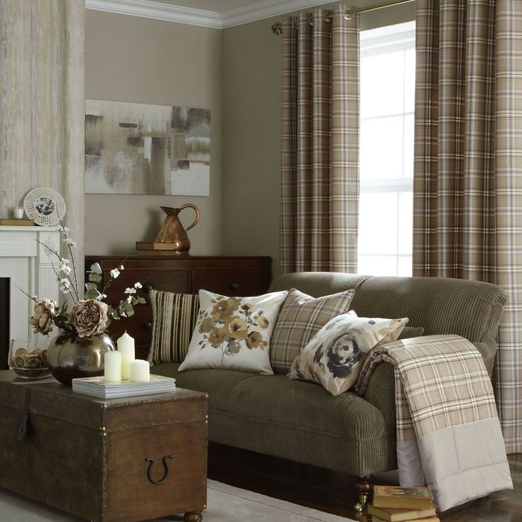 iLiv Piazza Cerato Tartan Check Eyelet Curtains - Charcoal / Beige