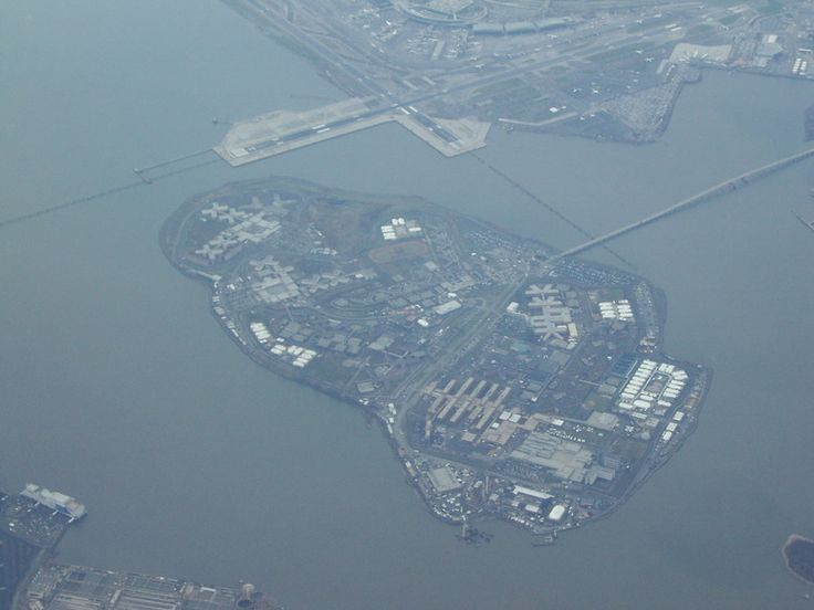 An aerial view of Rikers Island (prison island in New York).