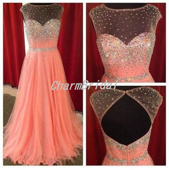 Blush pink Aline Beaded Hollow Back Long prom by CharmBridal, $169.00