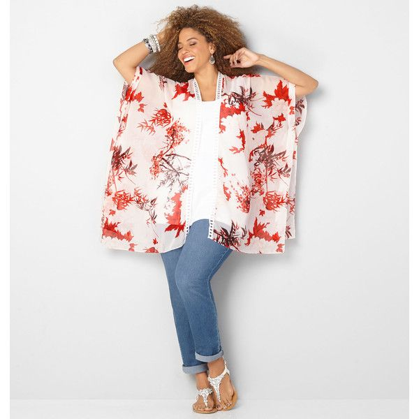 Avenue Plus Size Crochet Trim Bamboo Leaf Kimono ($28) ❤ liked on Polyvore featuring intimates, robes, plus size, red print, plus size kimono robe, floral kimono, women's plus size robes, long robe and long kimono robe