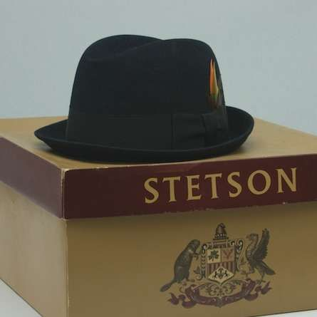 This vintage Stetson fedora sits nicely atop its hat box. These hats are just utterly timeless.