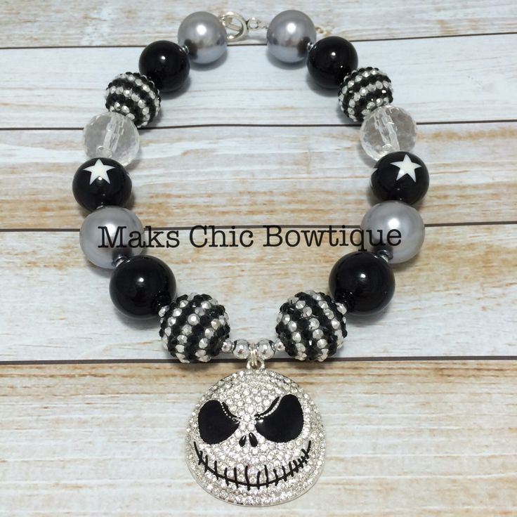 Toddler Nightmare Before Christmas Inspired Chunky Necklace, Jack Skellington Chunky Necklace, Skull Chunky Necklace, Holiday Necklace by MaksChicBowtique on Etsy https://www.etsy.com/listing/212419138/toddler-nightmare-before-christmas