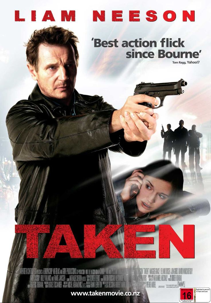 TAKEN (2009) French action thriller film which stars Liam Neeson. Neeson plays a former Central Intelligence Agency (CIA) operative who sets about tracking down his daughter after she is kidnapped by human traffickers while travelling in France