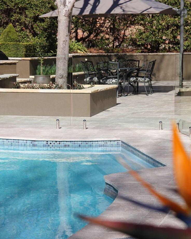 Amber Tiles Kellyville: Travertine pool surround, pool mosaic #poolinspiration #poolmosaic #ambertiles #travertine