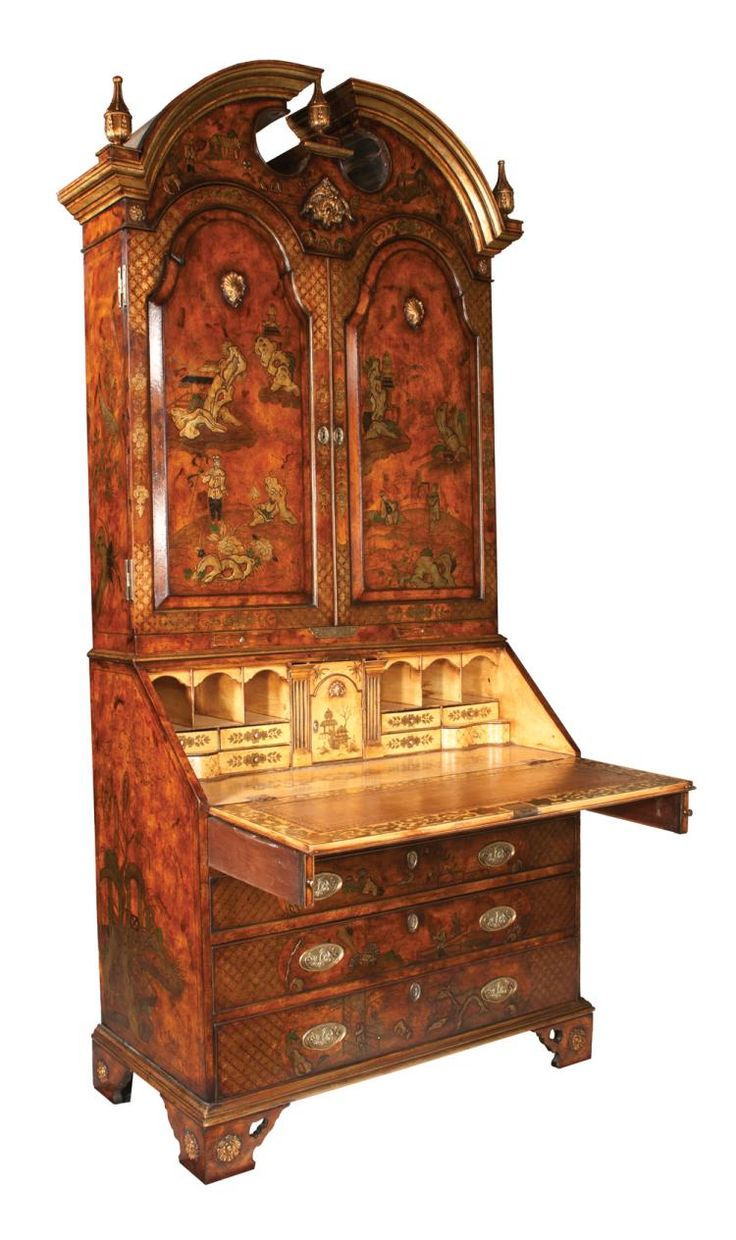 Buy Online, View Images And See Past Prices For Queen Anne Bonnet Top  Tortoise Color Chinoiserie Lacquered Bureau Bookcase With Arch Panel Doors,  ...