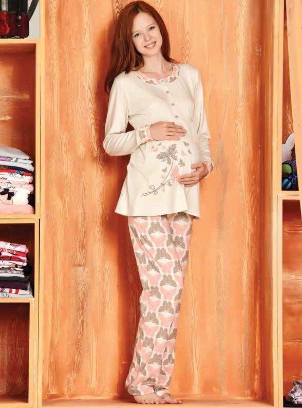 Kelebek Desenli Hamile #PijamaTakımı 2480    Tuğse #BayanPijama 2014/15 Sonbahar Kış Koleksiyonu http://www.camasirim.com/c/pijama-takimi-24